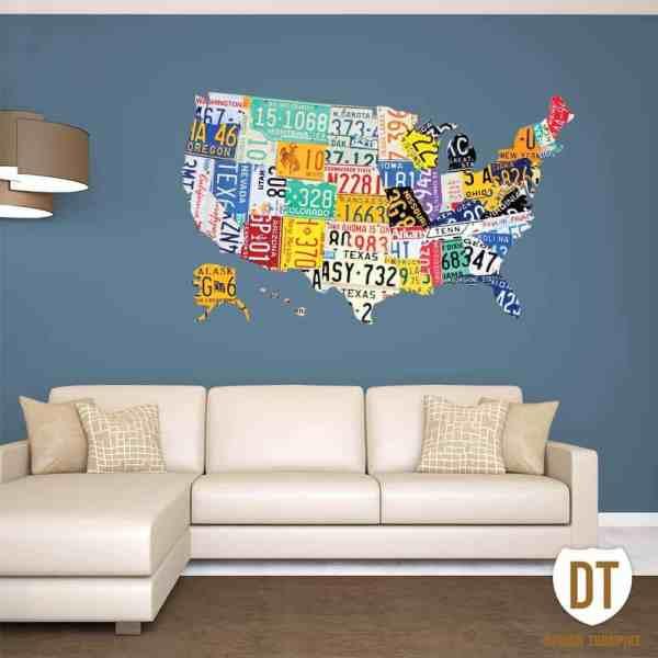 License Plate Wall Art Usa Map
