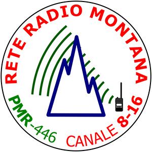 Adesivo ufficiale Rete Radio Montana – base bianca – Kit 5 pezzi