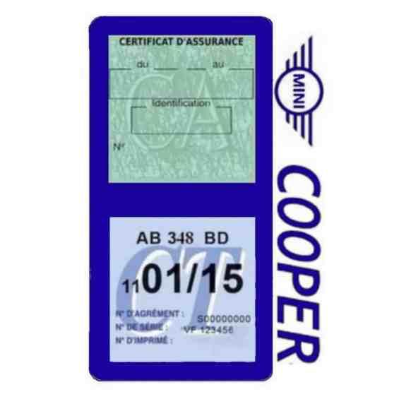 Porte assurance Mini Cooper double vignette bleu foncé