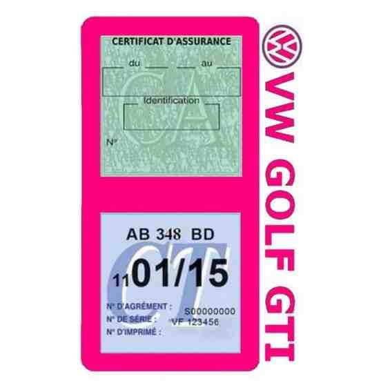 GOLF GTI vignette assurance Volkswagen rose