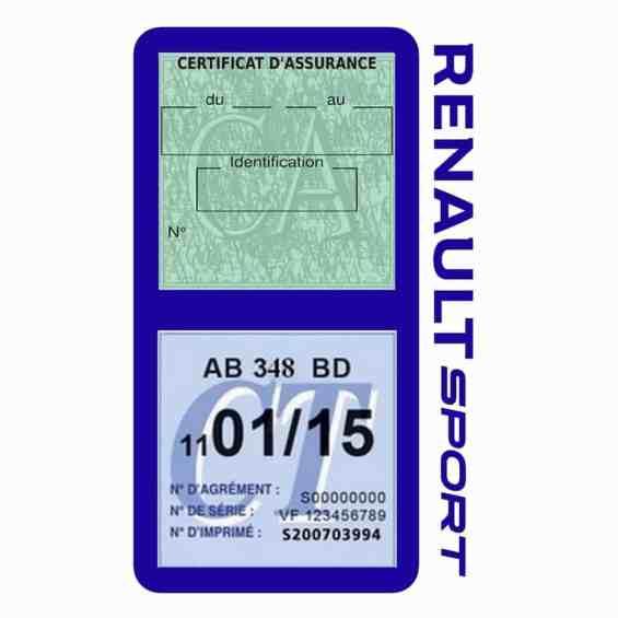 Etui double vignette assurance voiture Renault Sport RS bleu foncé