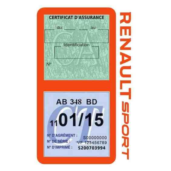 Etui double vignette assurance voiture Renault Sport RS orange