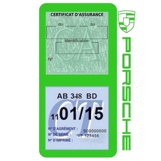 Etui Porsche double vignette assurance vert clair