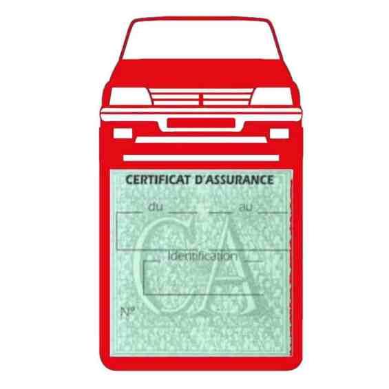 Etui vignette assurance voiture 205 GTI Peugeot rouge