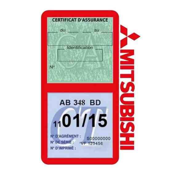 Mitsubishi double vignette assurance voiture rouge