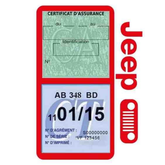 Porte assurance JEEP Calandre rouge double étui pochette voiture