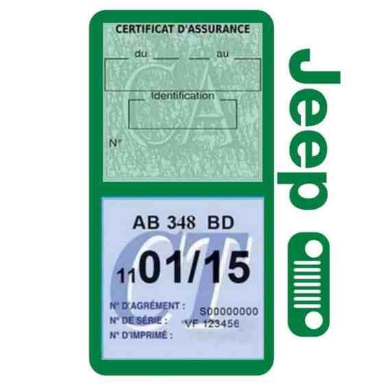 Porte assurance JEEP Calandre vert foncè double étui pochette voiture