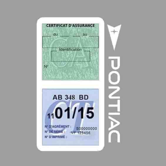 PONTIAC étui vignette assurance voiture blanc