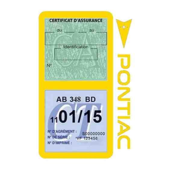 PONTIAC étui vignette assurance voiture jaune