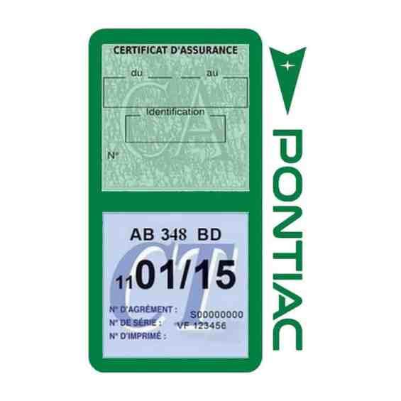PONTIAC étui vignette assurance voiture vert foncé
