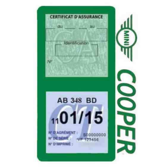 Porte assurance Mini Cooper double vignette vert foncé