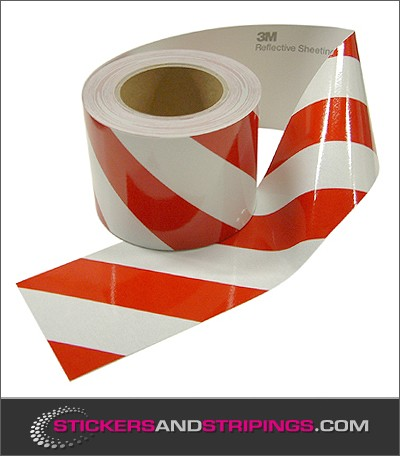 V Reflecterende 100 mm tape Rood  Wit Links