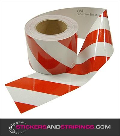 Reflecterende tape 100 mm Rood  Wit Links