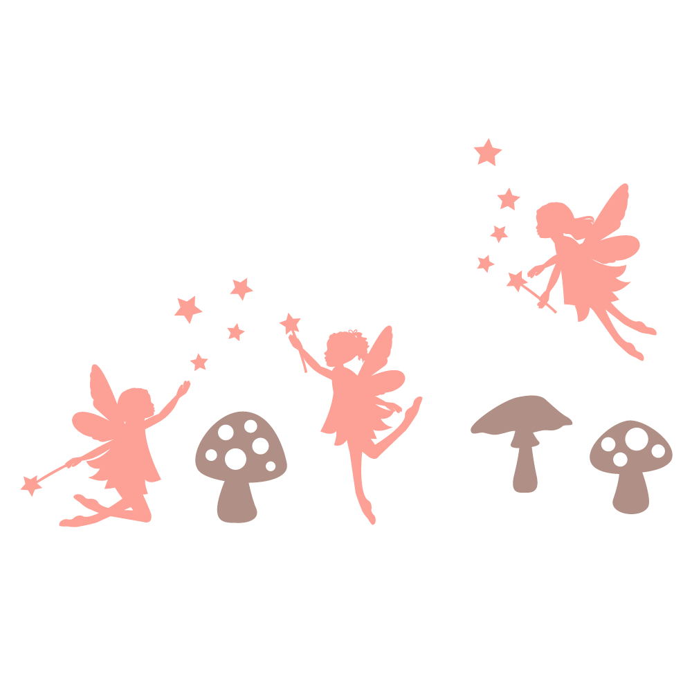 Fairy and toadstool wall sticker pack 2
