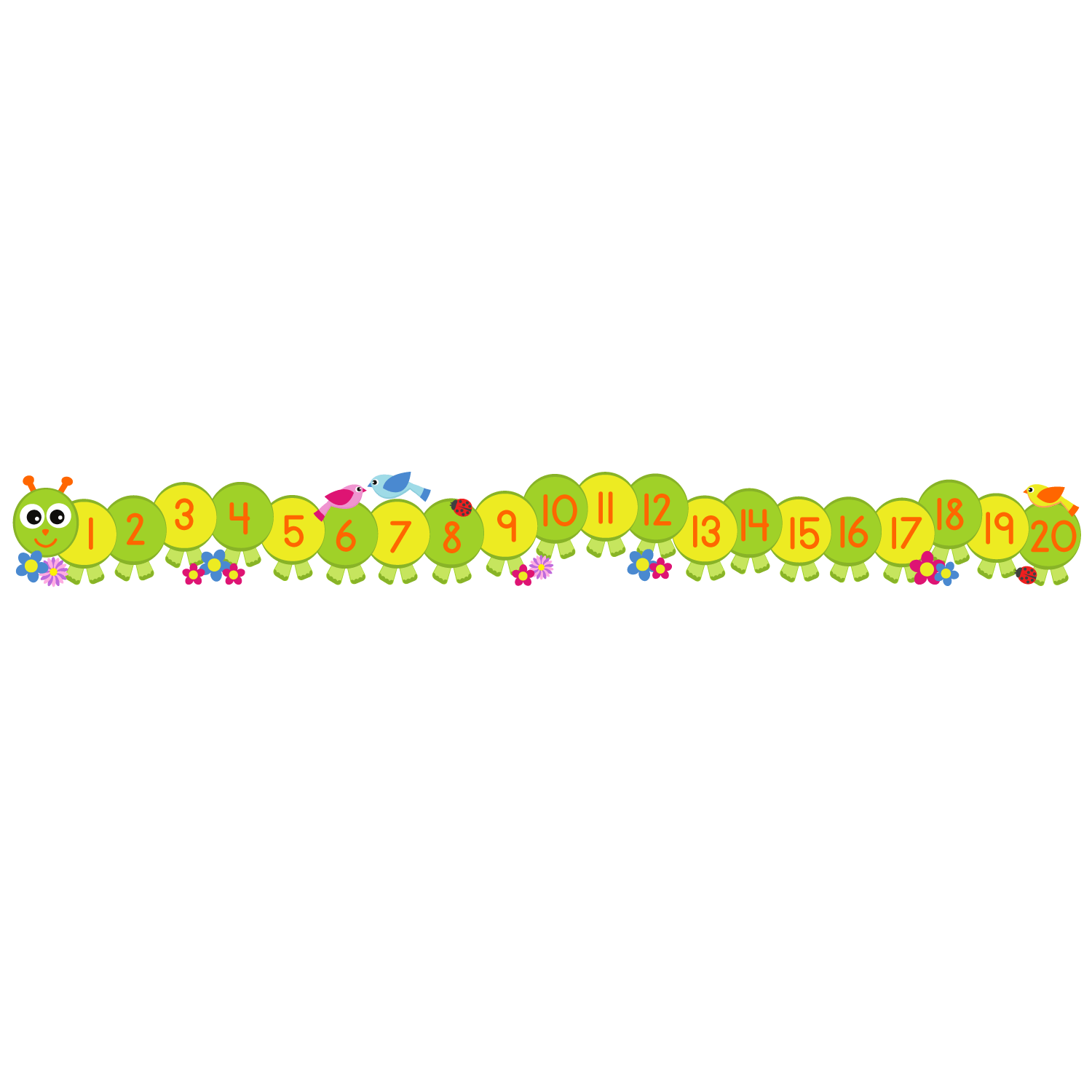 hight resolution of caterpillar number line wall sticker