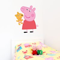 Peppa Pig with teddy wall sticker | Stickerscape | UK