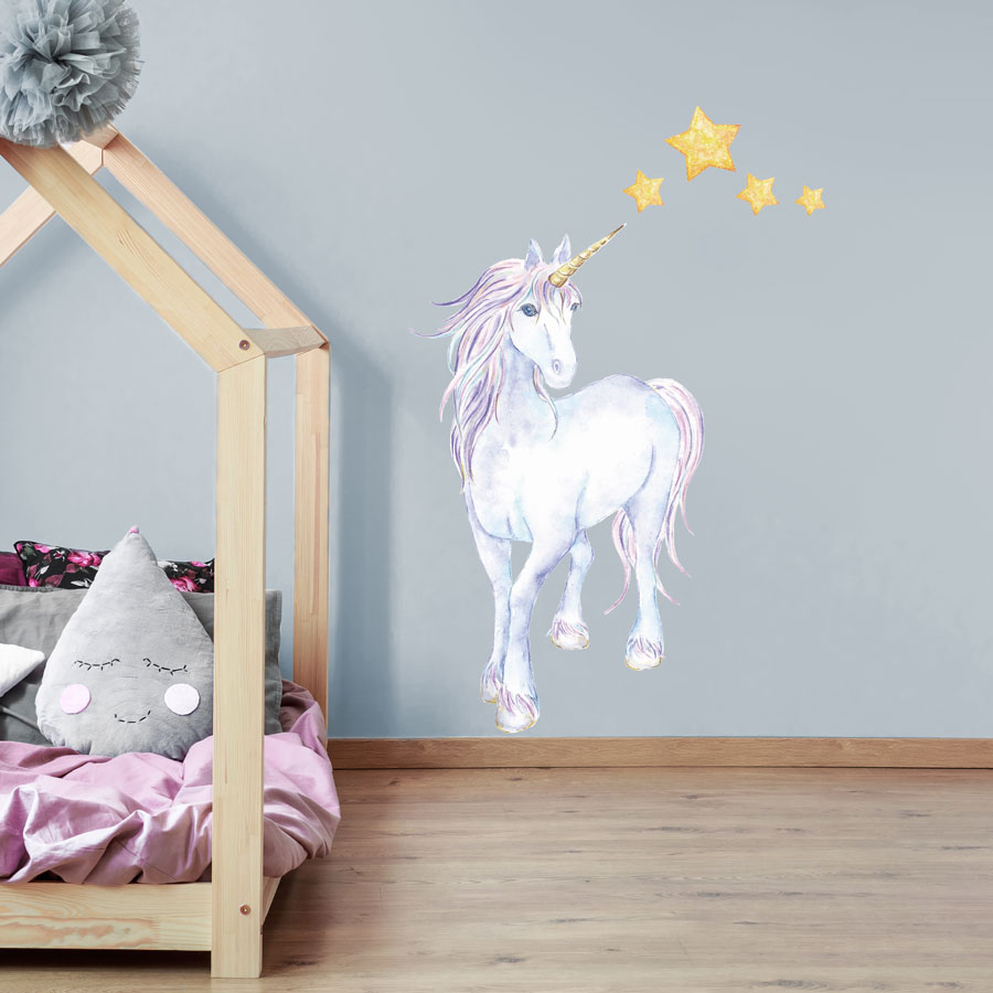 Mythical Unicorn And Stars Wall Sticker Unicorn Wall