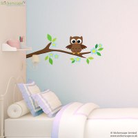 Owl on a tree branch wall sticker | Stickerscape | UK