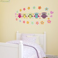 Owl and flowers wall sticker | Stickerscape | UK