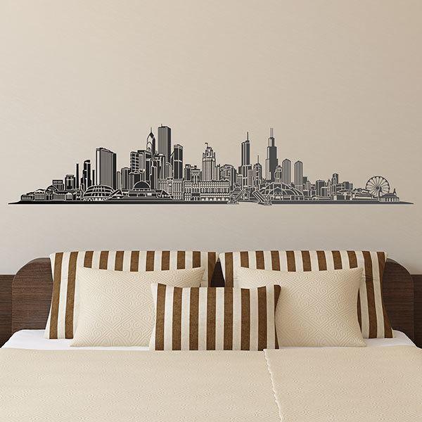 Adesivo murale raffigurante lo skyline di new york per decorare con gusto la sala, lo studio. Adesivi Murali Citta