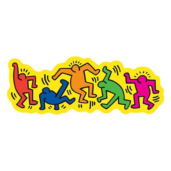 Resistente cartone rivestito in carta plastificata lucida. Adesivo Danza Di Keith Haring Stickersmurali Com