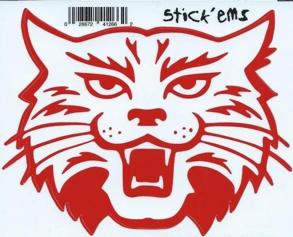 4 5inx4in red white wildcat mascot bumper sticker decal vinyl car stickers decals