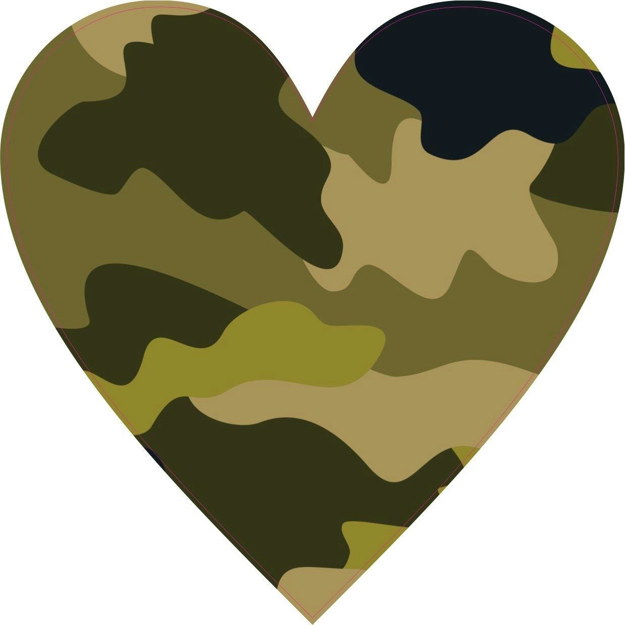 4in x 4in camouflage heart sticker vinyl camo gas cap decal cup stickers