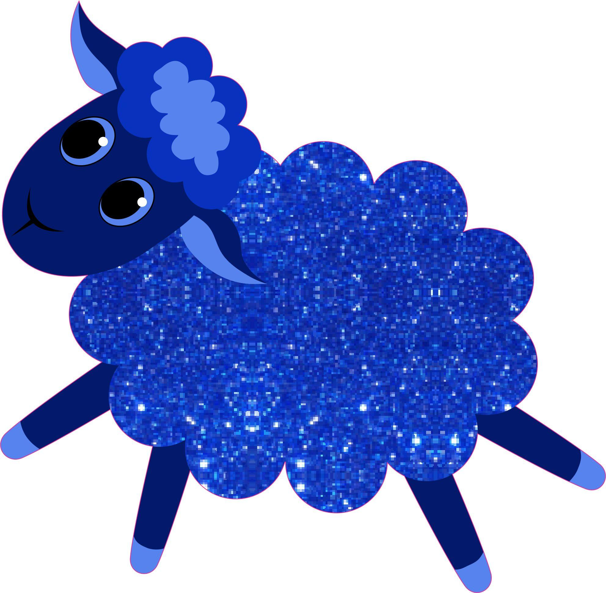 Blue Night Sky Sparkly Sheep Stickers