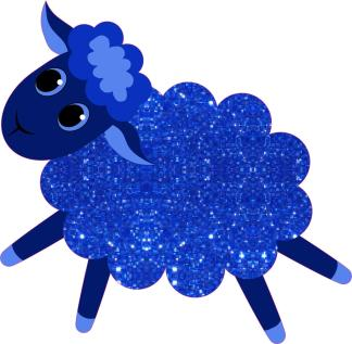 Blue Night Sky Sparkly Sheep Stickers