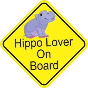 Hippo Lover On Board Sticker