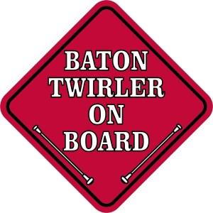 Red Baton Twirler on Board Sticker