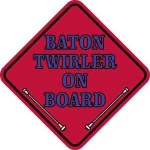 Red Blue Baton Twirler on Board Magnet