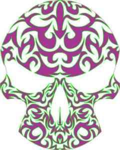 purple and green skull bumper sticker