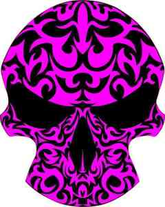 purple tribal skull bumper sticker