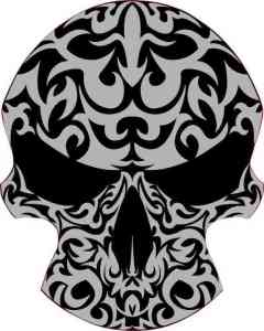 Black and Gray Tribal Skull Bumper Sticker