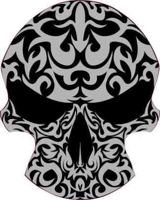 Black and Gray Tribal Skull Bumper Sticker