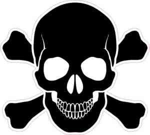 Black Skull and Crossbones bumper sticker