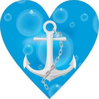 Blue Anchor Heart Bumper Sticker