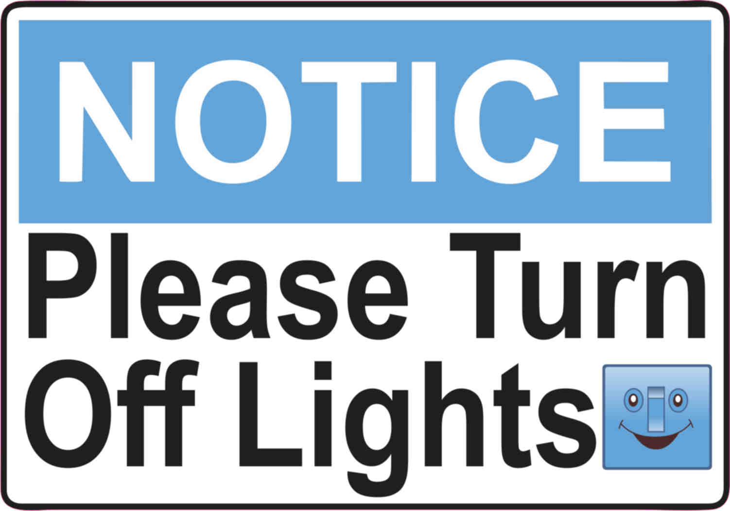 5in X Blue Please Turn Off Lights Sticker Vinyl Door