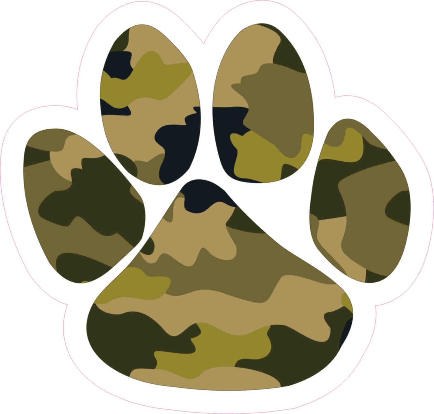 4 75in x 5in camouflage paw print bumper sticker vinyl vehicle stickers