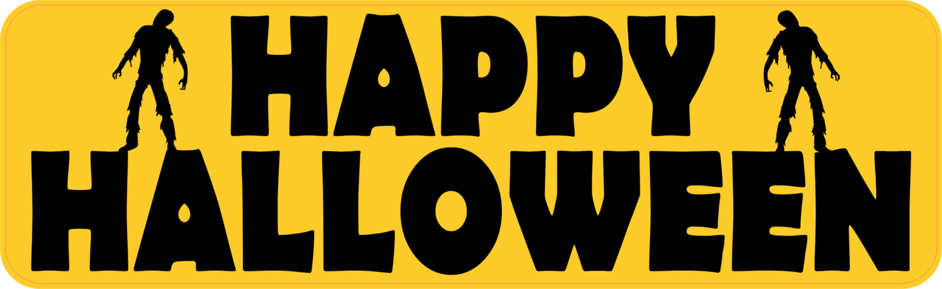 10in X 3in Zombie Happy Halloween Bumper Sticker Vinyl Holiday Stickers