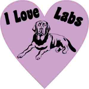 Heart I Love Labs bumper sticker