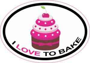 i love to bake cupcakes sticker