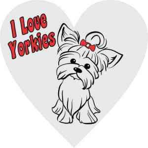 Gray I Love Yorkies Heart Sticker