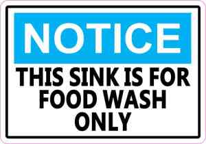 food wash sink only