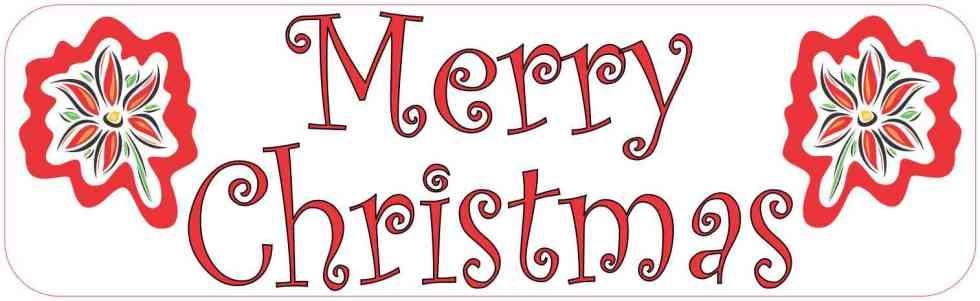 Poinsettia Merry Christmas Bumper Sticker