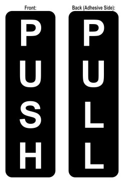 Double Sided Push Pull Sticker