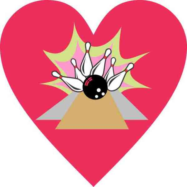 Pink Heart Bowling Sticker