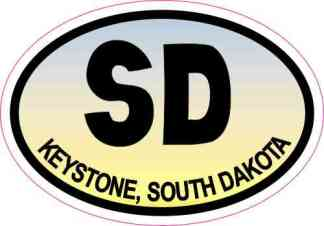 Blue and Yellow Oval SD Keystone South Dakota Sticker
