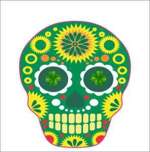 Irish-Themed Skull Sticker